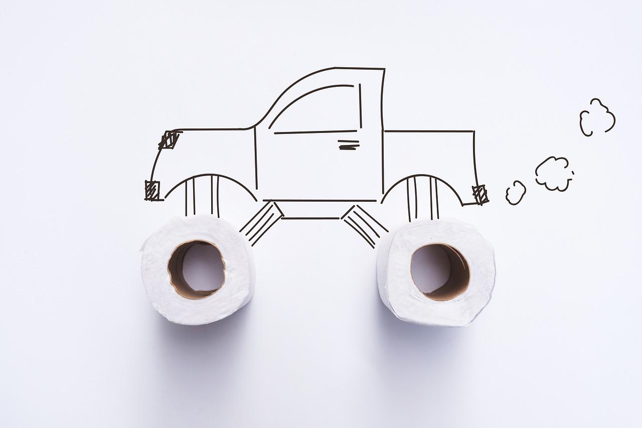 vehicle, wheels, toilet paper